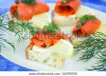 Lox hors d'ouvre, smoked salmon appetizers