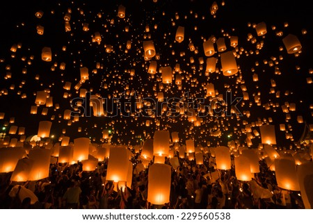 Loy Krathong and Yi Peng lantern festival in Chiang Mai, Thailand October 25, 2014.  Traditions passed on for hundreds of years.
