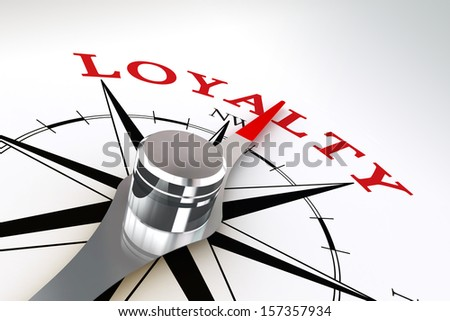 loyalty concept compass rose on white background - stock photo