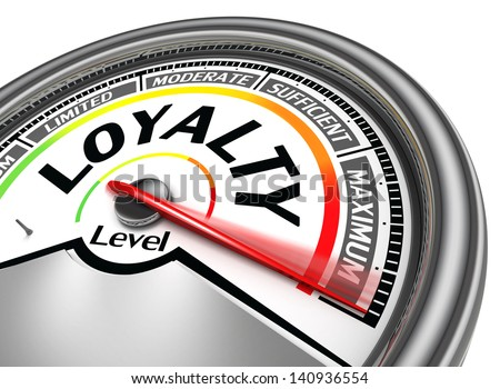 loyalty level conceptual meter indicate hundred per cent, isolated on white background - stock photo