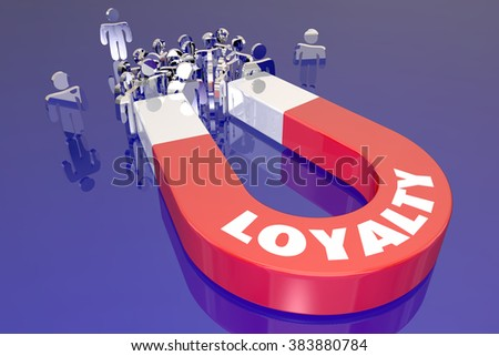 Loyalty Magnet Word Attracting Return Customers Clients Employees - stock photo