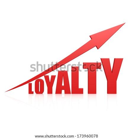 Loyalty red arrow - stock photo