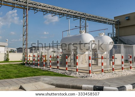 LPG cylinder tank isolated in safety zone inside a fence, Safety precaution concept