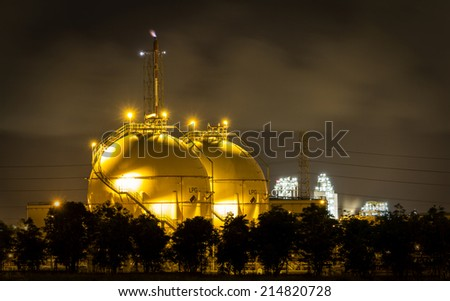 LPG gas industrial storage sphere tanks  - stock photo