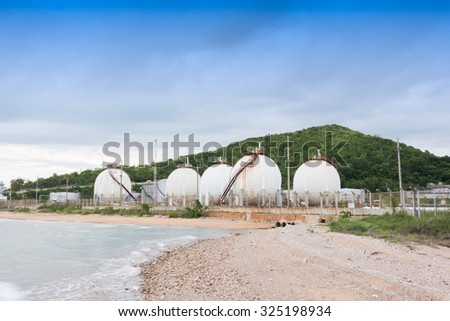 LPG gas industrial storage sphere tanks at asia Thailand - stock photo