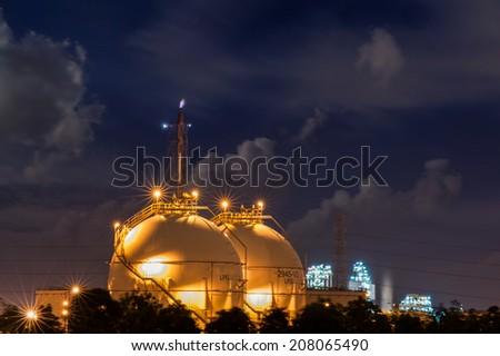 LPG storage plant at night  - stock photo