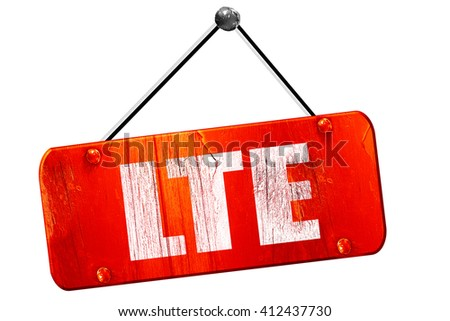 lte, 3D rendering, vintage old red sign - stock photo