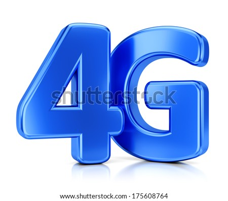 LTE wireless communication technology concept. 4G blue icon isolated on white background. - stock photo