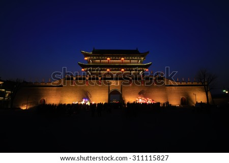 LUAN COUNTY - MARCH 5: Luan State Ancient City Gate building scenery, on march 5, 2015, Luan County, Hebei Province, China