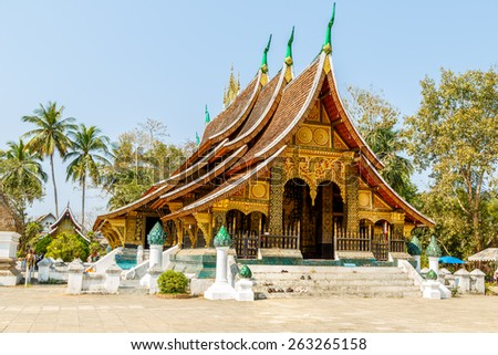 LUANG PRA BANG - MAR 18: Wat Xieng thong temple , MAR 18, 2015, Luang Pra bang, Laos. Colorful Wat Xieng thong temple in Luang pra bang Loas - stock photo