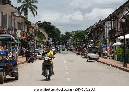 LUANG PRABANG, LAOS - AUGUST 17: A street scape view of one of the main roads in the Unesco town of Luang Prabang, Laos on the 17th August, 2014.