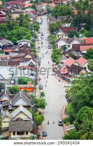 LUANG PRABANG, LAOS - JUNE 9, 2015 : the beautiful landscape of luang prabang from mount phou si,laos.The whole city is also notable as a UNESCO World Heritage Site.