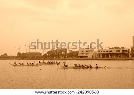 LUANNAN COUNTY - AUGUST 5: dragon boat race scene in the river on august 5, 2014, Luannan County, Hebei Province, China.