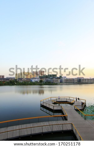 LUANNAN COUNTY - AUGUST 30: The landing stage architecture in the North River Park, on August 30, 2013, LuanNan county, hebei province, China.