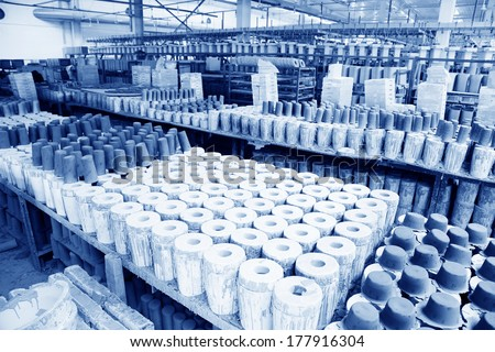 LUANNAN COUNTY - JANUARY 5: Clay parts on the production line, in the ZhongTong Ceramics Co., Ltd. January 5, 2014, Luannan county, Hebei Province, China.