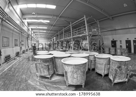 LUANNAN COUNTY - JANUARY 5: Production line in the making mud workshop, in the ZhongTong Ceramics Co., Ltd. January 5, 2014, Luannan county, Hebei Province, China.