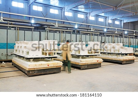 LUANNAN COUNTY - JANUARY 5: Sintering workshop production line, in the ZhongTong Ceramics Co., Ltd. January 5, 2014, Luannan county, Hebei Province, China.