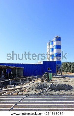 LUANNAN COUNTY - OCTOBER 13: Bituminous concrete equipment at the site, on october 13, 2014, Luannan County, Hebei Province, China  - stock photo