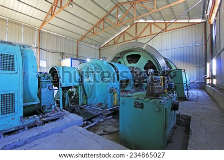 LUANNAN COUNTY - OCTOBER 13: Mining machinery and equipment in MaCheng iron mine, on october 13, 2014, Luannan County, Hebei Province, China