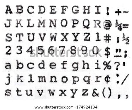 Lubalin graph vintage typewriter alphabet - stock photo