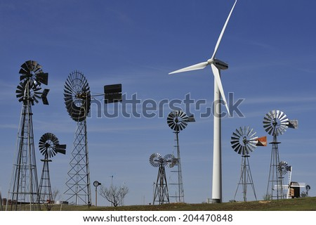 Lubbock, Texas, USA, - April. 1. 2012: Silhouette of windmills at American Wind Power Center, the museum displaying various windmills, Lubbock, Texas - stock photo