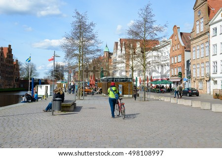 LUBECK, GERMANY - APRIL 5, 2015: Old part of Lubeck, is the second largest city in Schleswig-Holstein, northern Germany.