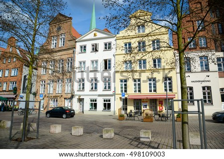 LUBECK, GERMANY - APRIL 5, 2015: Old part of Lubeck, is the second largest city in Schleswig-Holstein, northern Germany