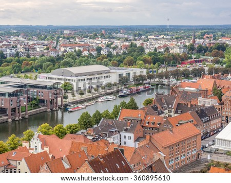 LUBECK, GERMANY - SEP 11: Aerial view of Lubeck in Germany on September 11, 2013. Lubeck was the leading city of the Hanseatic League and is listed by UNESCO as a World Heritage Site.