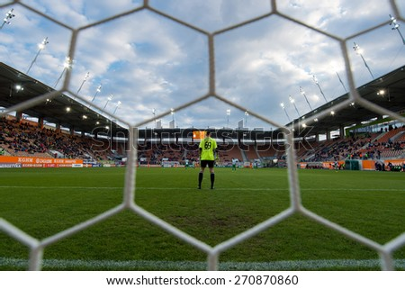 LUBIN, POLAND - APRIL18, 2015: Goalkeeper Michal Wrobel during match Polish 1 League between KGHM Zaglebie Lubin - Olimpia Grudziac 1:0 - stock photo