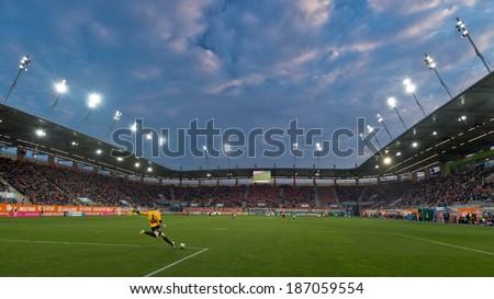 LUBIN, POLAND - APRIL 12, 2014: Silvio Rodic strikes the ball during match Polish T-Mobile Premier League between KGHM Zaglebie Lubin - Legia Warszawa 1:3 - stock photo