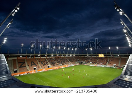 LUBIN, POLAND - AUGUST 27, 2014: Match Polish 1 League between KGHM Zaglebie Lubin - Bytovia Bytow 2:2. View from the roof of the stadium.