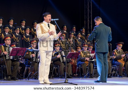 LUBIN, POLAND - DECEMBER 2, 2015: Concert of Alexandrov Choir from Russia.