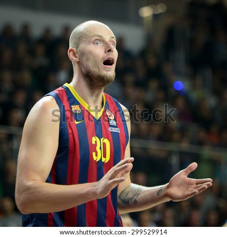LUBIN, POLAND - DECEMBER 5, 2014:  Maciej Lampe in action during the Euroleague basketball match between PGE Turow Zgorzelec - FC Barcelona 65:104. - stock photo