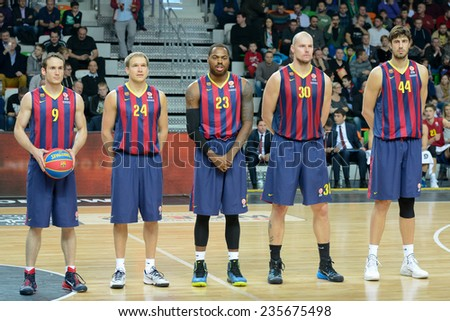 LUBIN, POLAND - DECEMBER 5, 2014: Team of FC Barcelona before the Euroleague basketball match between PGE Turow Zgorzelec - FC Barcelona 65:104. - stock photo