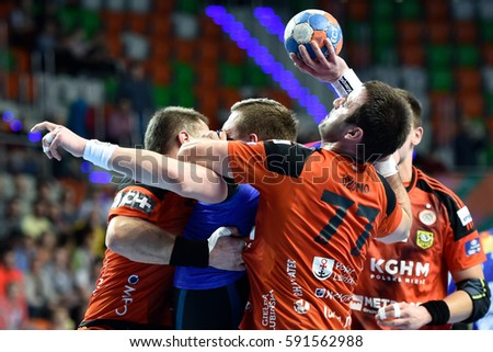 LUBIN, POLAND - FEBRUARY 28, 2017: Polish PGNiG Superleague men in handball match between MKS Zaglebie Lubin - Vive Tauron Kielce 28:29. In action Nikola Dzono (77).