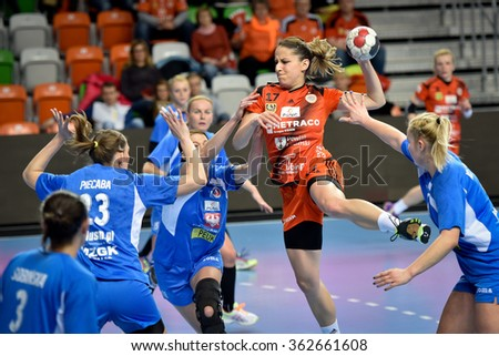 LUBIN, POLAND - JANUARY 13, 2016: Sanja Premovic (17) in action during match  Polish PGNiG Superleague Women in handball between KGHM Metraco Zaglebie Lubin - MKS Piotrcovia Piotrkow Trybunalski 24:20