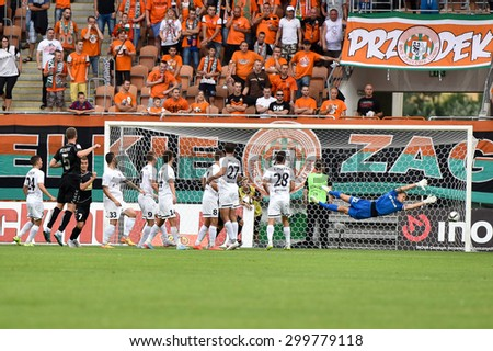 Lubin, Poland. 25 July, 2015: Serhii Pylypchuk (5) shot a goal from free kick during match Polish Premier League between KGHM Zaglebie Lubin - Korona Kielce 0:2.  - stock photo