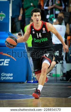 LUBIN, POLAND - NOVEMBER 06, 2014: Nihad Djedovic (14) in action during match Euroleague basketball  between PGE Turow Zgorzelec - Bayern Munich 89:78.  - stock photo