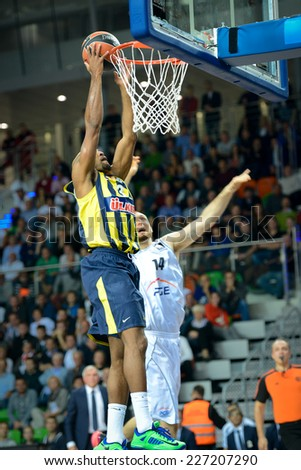 LUBIN, POLAND - OCTOBER 24, 2014: Andrew Goudelock in action during the Euroleague basketball match between PGE Turow Zgorzelec - Fenerbache Ulker Stambul 76:91.