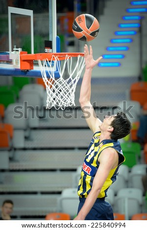 LUBIN, POLAND - OCTOBER 24, 2014: Emir Preldzic in action during the Euroleague basketball match between PGE Turow Zgorzelec - Fenerbache Ulker Stambul 76:91. - stock photo