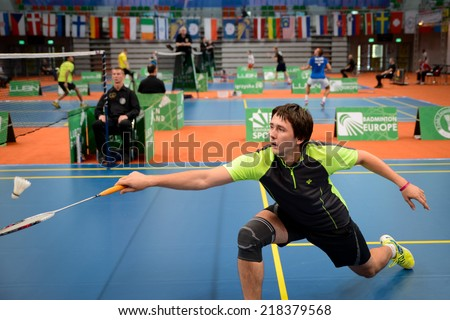 "LUBIN, POLAND - SEPTEMBER 18, 2014: Gordey Kosenko during Polish Championship in Badminton - ""Polish International 2014""."