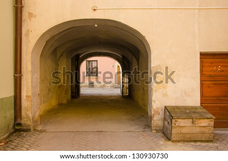 Lublin, Poland - derelict entrance to a house in Old Town