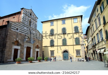 LUCCA, ITALY - APRIL 24, 2014: A view of a central square in Lucca, Italy.