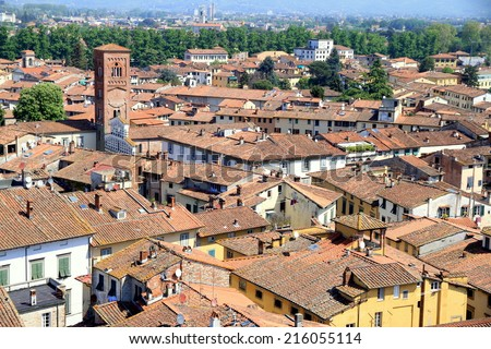 LUCCA, ITALY - April 24, 2014: Typical terracotta roofs in view in Italian town Lucca, Italy.