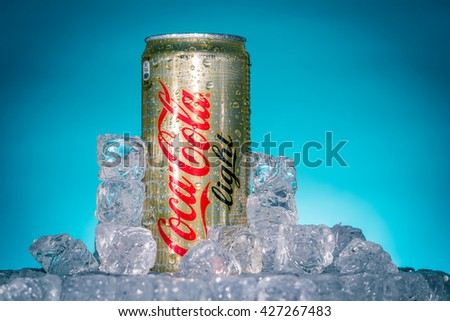 LUCCA, ITALY-AUGUST 20, 2015: Can of Coca-Cola Lignt on ice. Coca-Cola is a carbonated soft drink sold in stores, restaurants, and vending machines throughout the world.