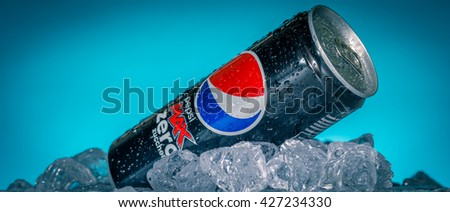 LUCCA, ITALY-AUGUST 20, 2015: Can of Pepsi cola Zero Max on ice. Pepsi is a carbonated soft drink that is produced and manufactured by PepsiCo. Created and developed in 1893.