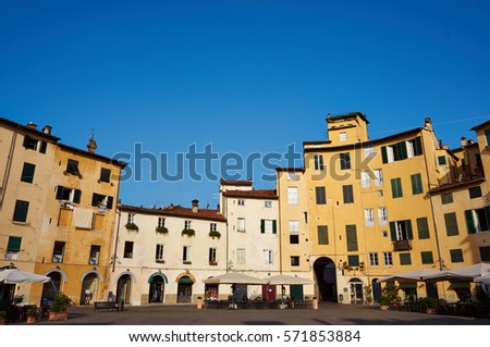 LUCCA/ITALY - July 9,2012 : Building at the Piazza dell Anfiteatro