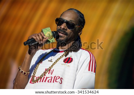 LUCCA, ITALY - JULY 28, 2015: SNOOP DOGG famous singer performs singing on stage famous singer performs on stage singing a well known festival in ITALY - stock photo