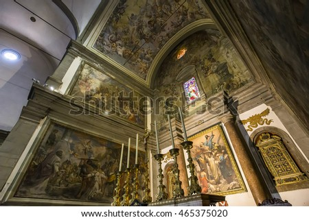 LUCCA, ITALY, JUNE 07, 2016 : architectural details of San Paolino church, june 07, 2016 in Lucca, Tuscany, Italy