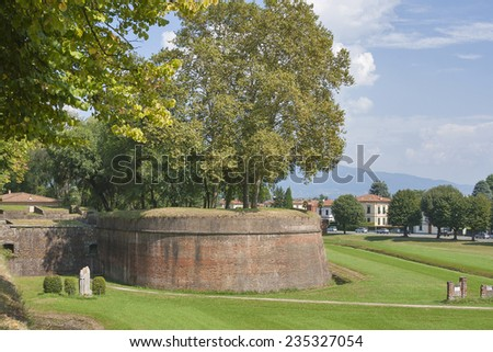 Lucca medieval surrounding city walls, Italy - stock photo